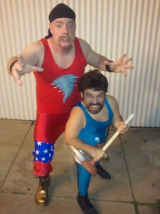 "This is me as ""The Cyclone"" and Danny Woodburn as ""The Plunger"".  These were the wrestling alter-egos for Coach Urkhardt & Mr. Poulos."